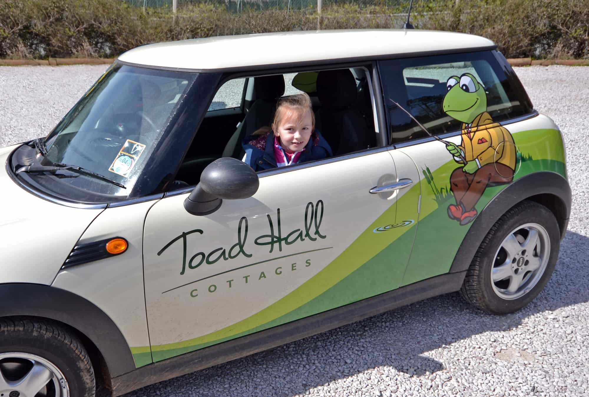 Daisy Palmer in our Toad-mobile