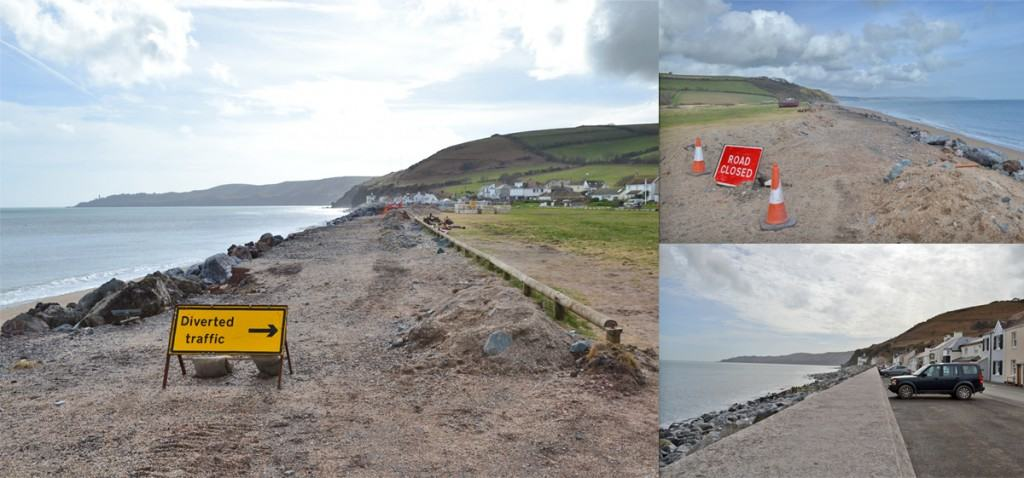 Work underway at Beesands to restore the sea defences.