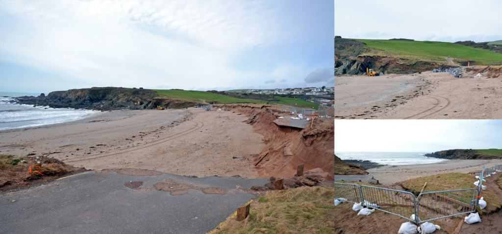 There is a diversion around a collapsed footpath at Leas Foot