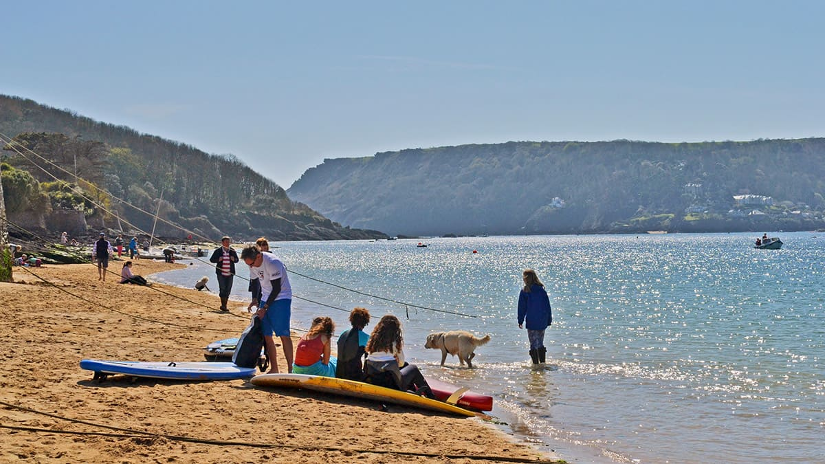 holiday makers enjoying the Easter holidays on the beach
