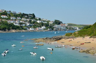 Salcombe town and it's nearby beaches in summer